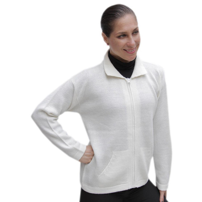 Womens Alpaca Wool Jacket Ivory SZ XL