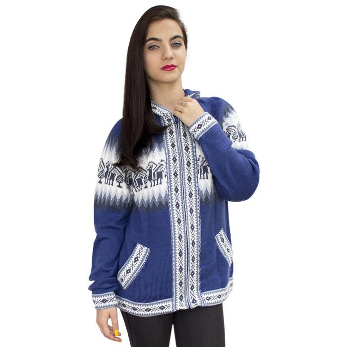 Womens Little Llamas Hooded Alpaca Wool Knitted Jacket Hoodie Sweater