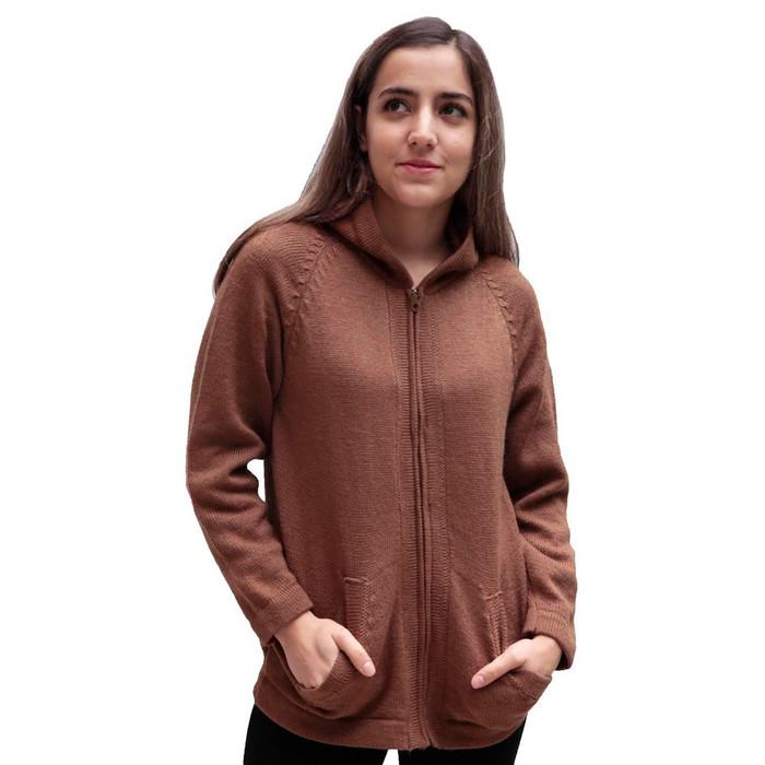 Hooded Alpaca Wool Jacket SZ XL Camel (14F-012-205XL)