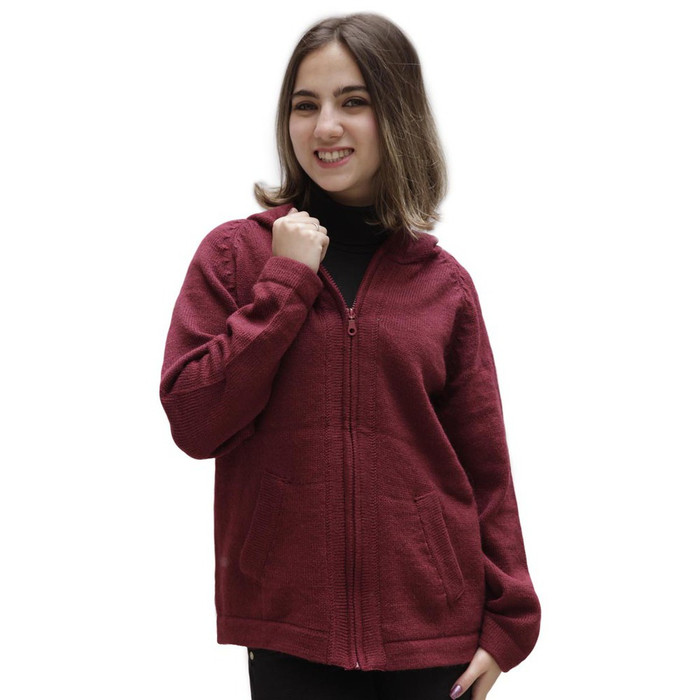 Hooded Alpaca Wool Jacket SZ L Wine Burgundy