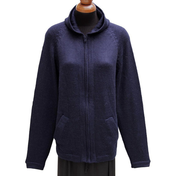 Hooded Alpaca Wool Jacket SZ M Navy Blue