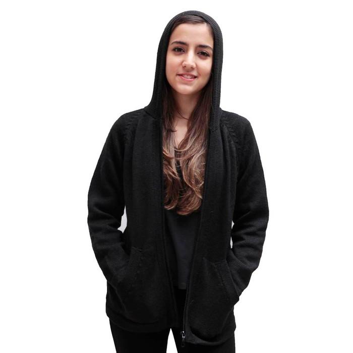 Hooded Alpaca Wool Jacket SZ M Black