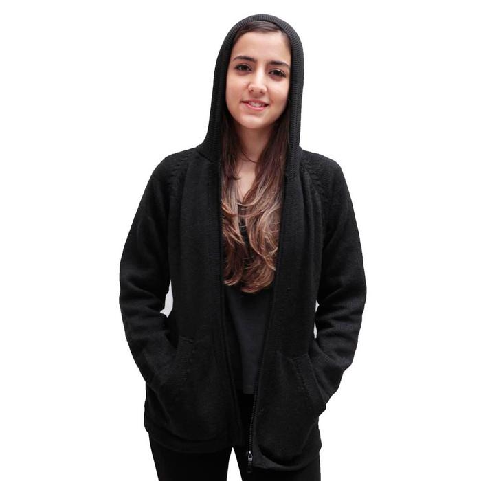 Hooded Alpaca Wool Jacket SZ S Black
