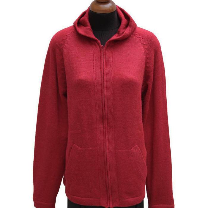 Hooded Alpaca Wool Jacket SZ L Red (14F-035-842L)
