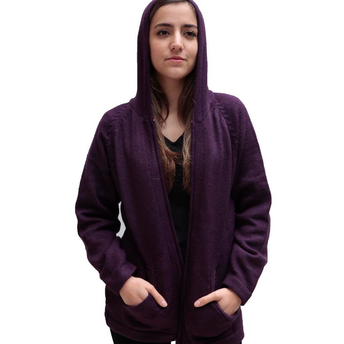 Hooded Alpaca Wool Jacket SZ L Plum