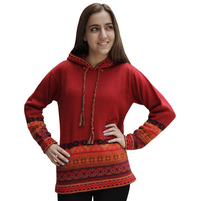 Womens Superfine Alpaca Wool Hooded Intarsia Sweater Red Size L