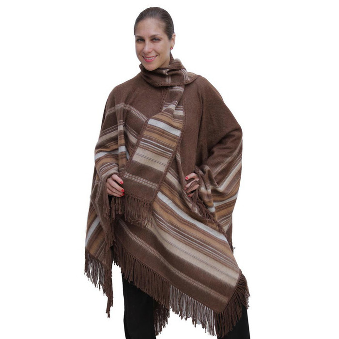 Ethnic Alpaca Wool Poncho & Scarf Brown One SZ
