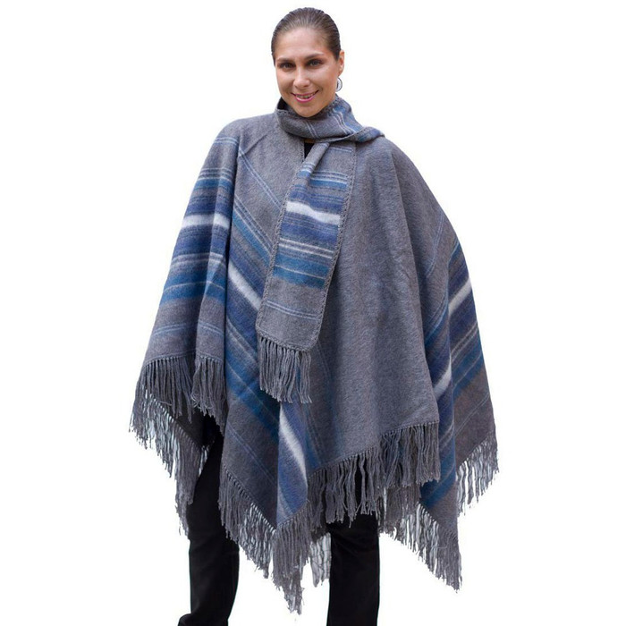 Ethnic Alpaca Wool Poncho Cloak with Scarf Gray One SZ