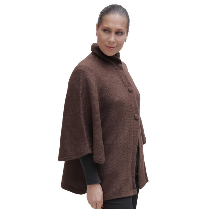 Womens Alpaca Wool Poncho with Sleeves SZ M Brown