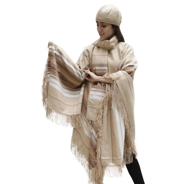 Fringed Alpaca Wool Woven Poncho with Matching Scarf & Beret Beige One SZ (32N-001-103)