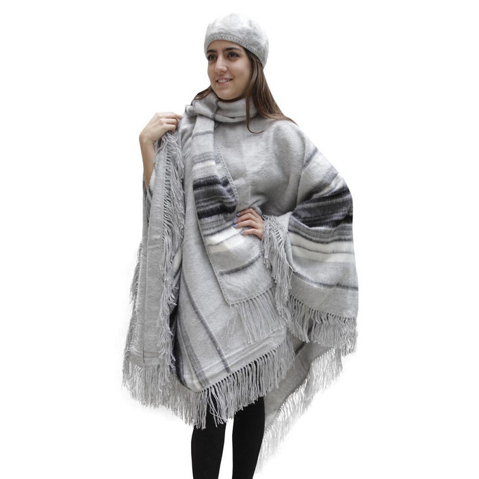 Fringed Alpaca Wool Woven Poncho with Matching Scarf & Beret Silver One SZ (32N-068-402)