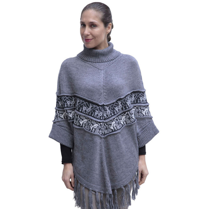 Womens Superfine Alpaca Wool Turtleneck Sleeves Poncho Gray One Sz
