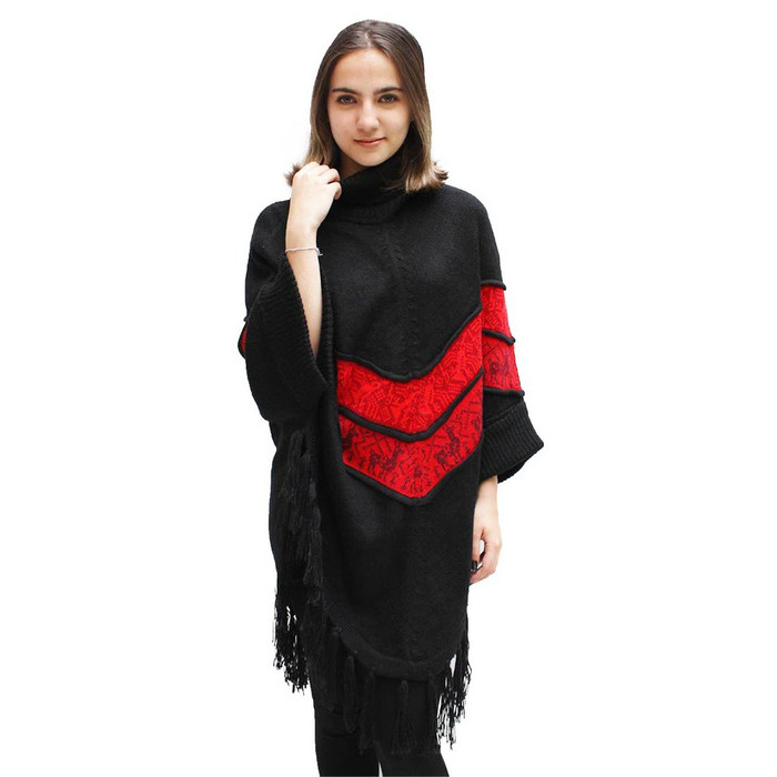 Womens Superfine Alpaca Wool Turtleneck Sleeves Poncho Black One Sz