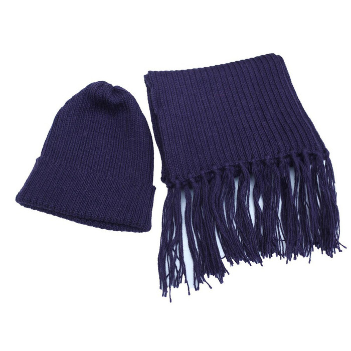Superfine Alpaca Wool Beanie Hat & Scarf Set Purple (33-017-00924)