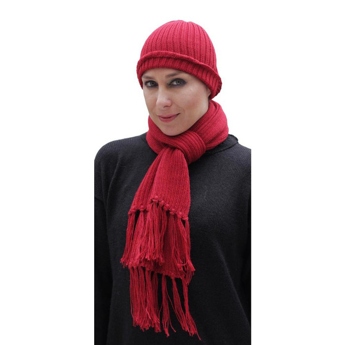 Superfine Alpaca Wool Beanie Hat & Scarf Set Red (33-035-00851)