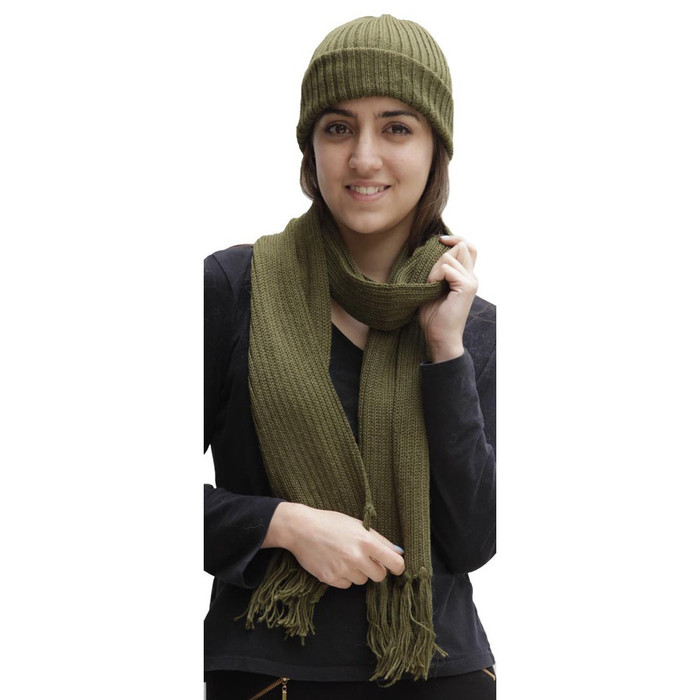Superfine Alpaca Wool Beanie Hat & Scarf Set Leaf Green (33-064-00875)