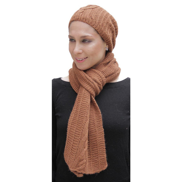 Superfine Hand Knitted Alpaca Wool Beanie Hat & Scarf Copper