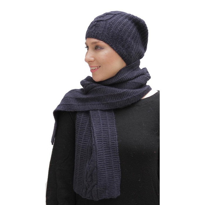Superfine Hand Knitted Alpaca Wool Beanie Hat & Scarf Navy Blue (33C-019-838)