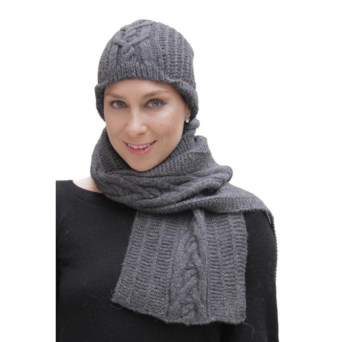 Superfine Hand Knitted Alpaca Wool Beanie Hat & Scarf Charcoal Gray (33C-040-407)