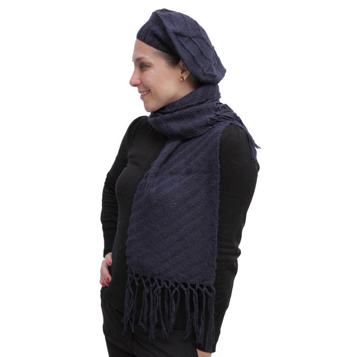 Superfine Hand Knitted Alpaca Wool Beret & Scarf Navy Blue