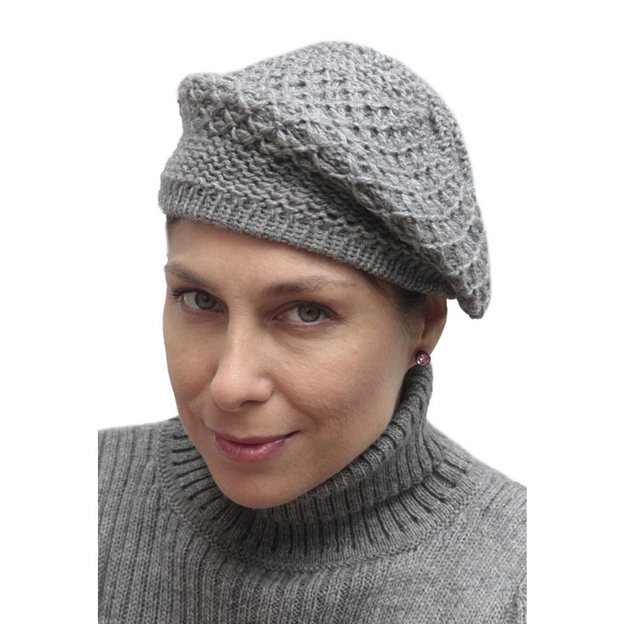 Alpaca Wool Knitted Beret Medium Gray One SZ (65E-031-403)
