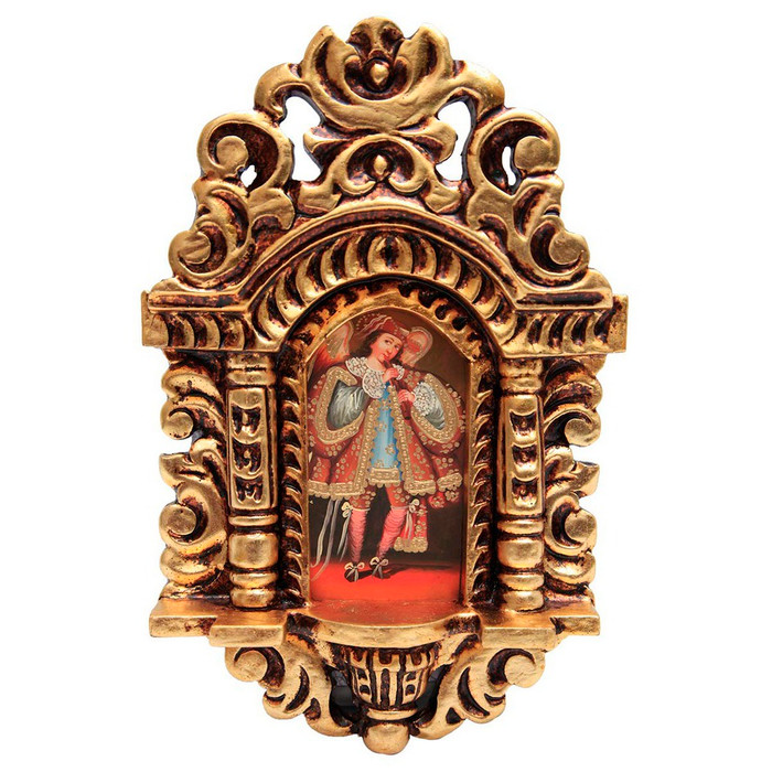 "Musician Archangel Cuzco School Art Handcarved Gilt Retablo 11"" x 6.5"""