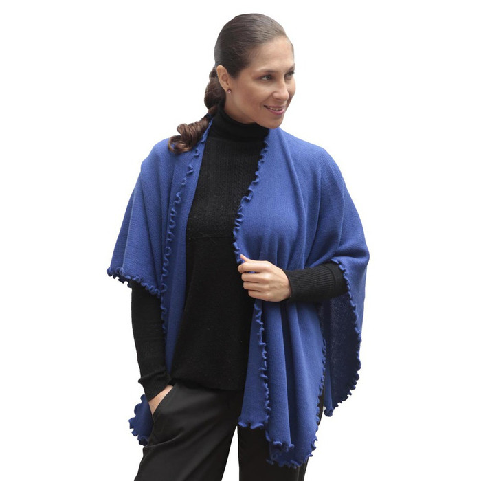 Womens Soft And Warm Knitted Baby Rabbit Wool Ruana Cape Wrap