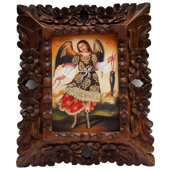 "Archangel Raphael Original Art Framed Oil Painting 10""x 8"""
