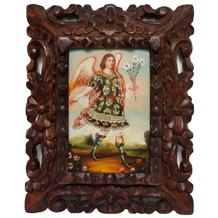 "Archangel Gabriel Original Art Framed Oil Painting 10""x 8"""