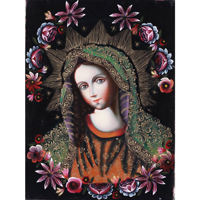 Divine Virgin Mary~Cuzco School Original Oil Painting On Canvas