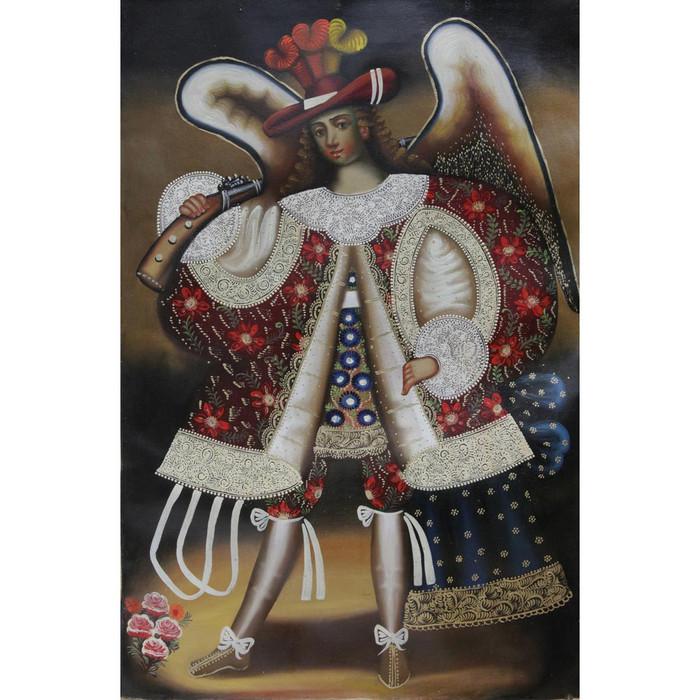 "Military Archangel Original Cuzco Oil Painting On Canvas  24""H x 16""W"