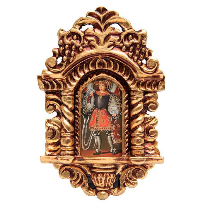 "Military Archangel Cuzco School Art Handcarved Gilt Retablo 11"" x 6.5"""