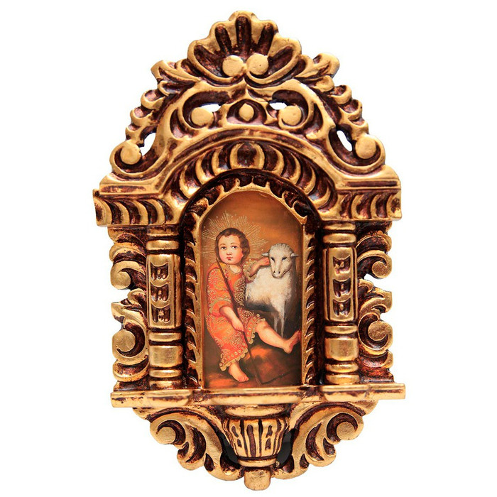 "Young St John Cuzco School Art Handcarved Gilt Retablo 11"" x 6.5"""
