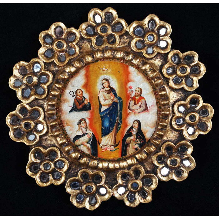 "Immaculate Lady & Saints Framed Oil Painting On Copper 13""D"