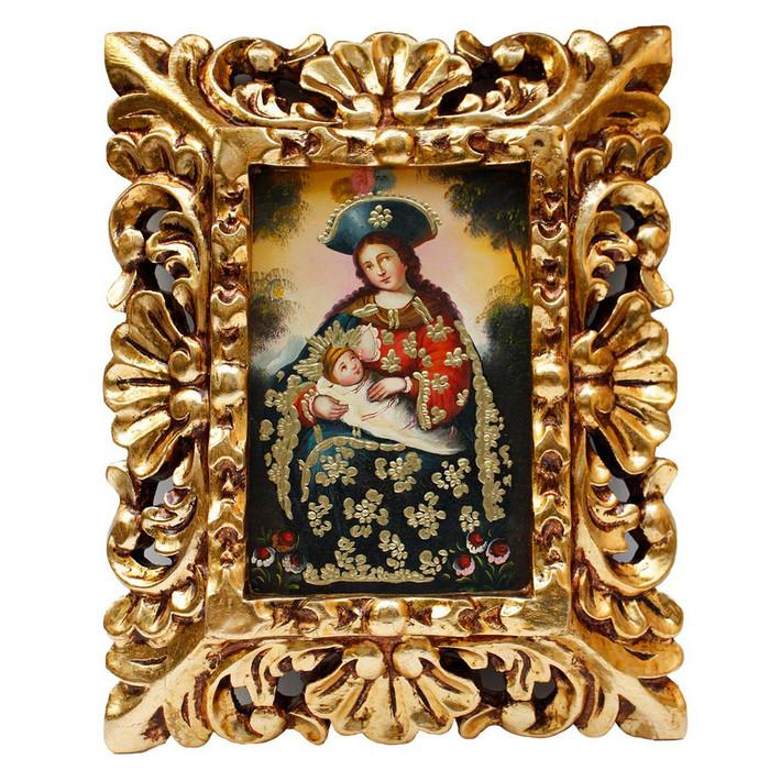 "Lady of La Leche Original Art Framed Oil Painting 10""x 8"""