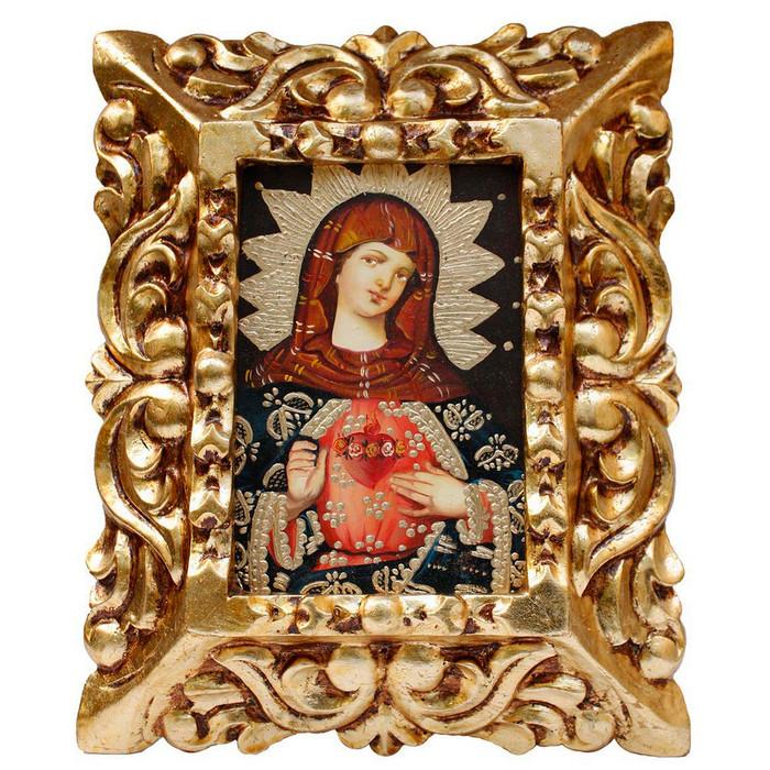 "Sacred Heart of Mary Original Art Framed Oil Painting 10""x 8"""