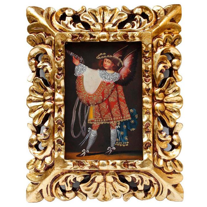 "Military Archangel Original Art Framed Oil Painting 10""x 8"""