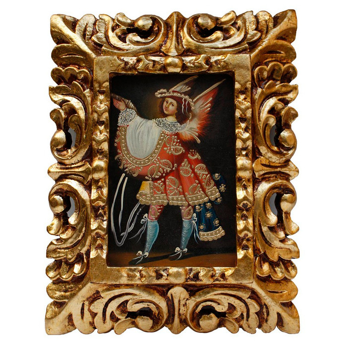 "Military Archangel Original Art Framed Oil Painting 10""x 8"""
