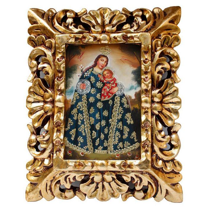 "Madonna & Child Original Art Framed Oil Painting 10""x 8"""