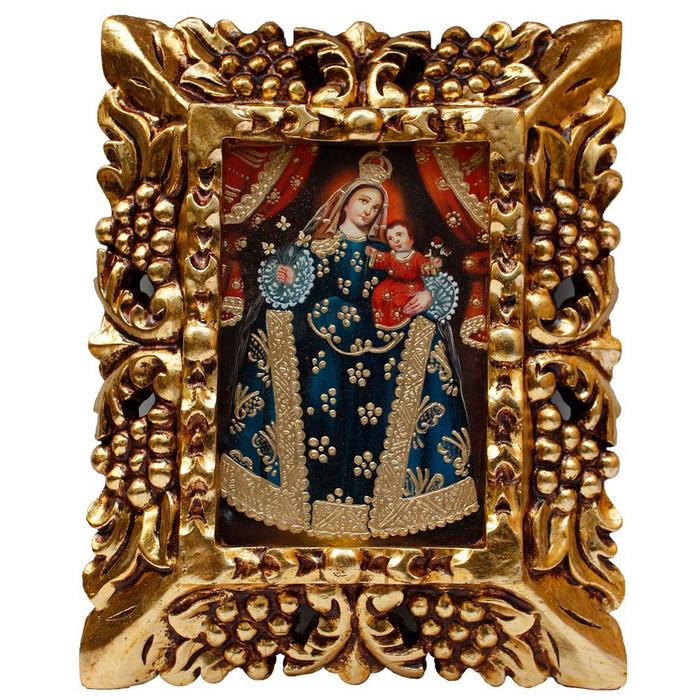 "Blue Madonna & Child Original Art Framed Oil Painting 10""x 8"""