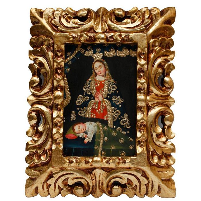 "Madonna & Sleeping Child Original Art Framed Oil Painting 10""x 8"""
