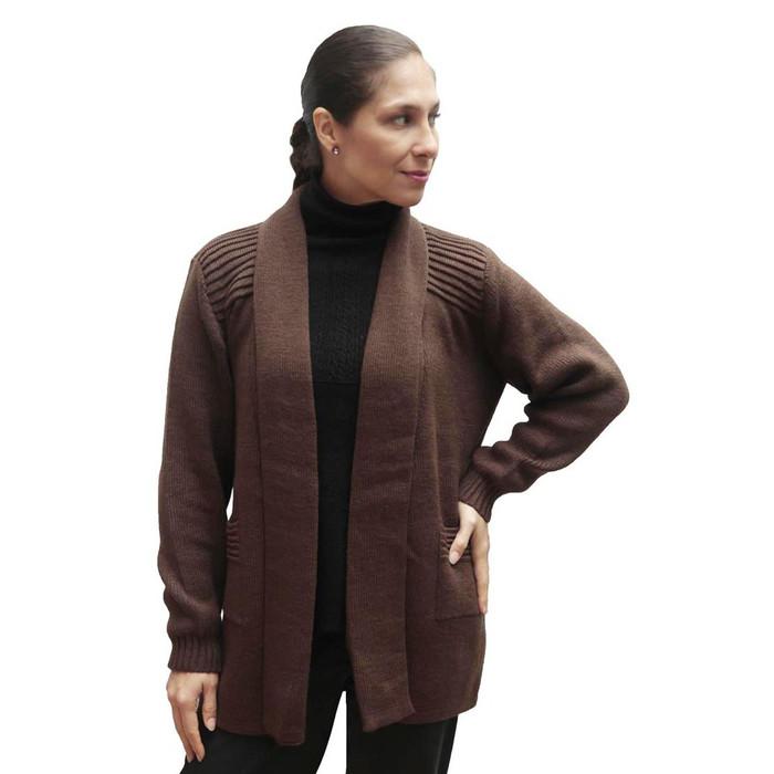 Women's Alpaca Wool Coat Sz L Brown