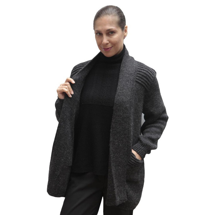 Women's Alpaca Wool Coat Sz L Charcoal Gray