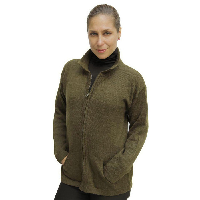 Womens Alpaca Wool Jacket Leaf Green Size XL (14D-064-638XL)