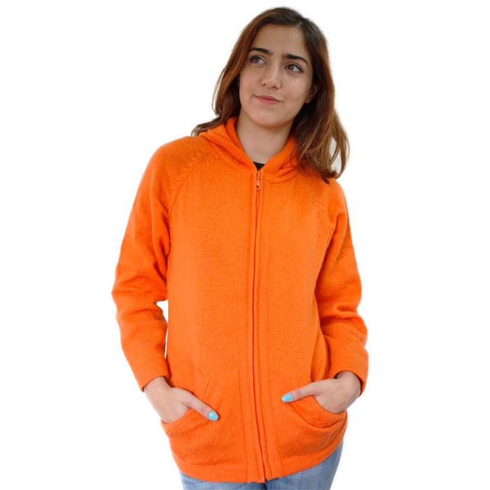 Hooded Alpaca Wool Jacket SZ S Orange