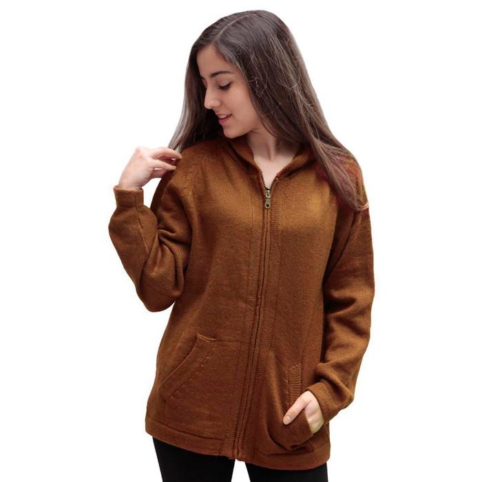 Hooded Alpaca Wool Jacket SZ S Copper