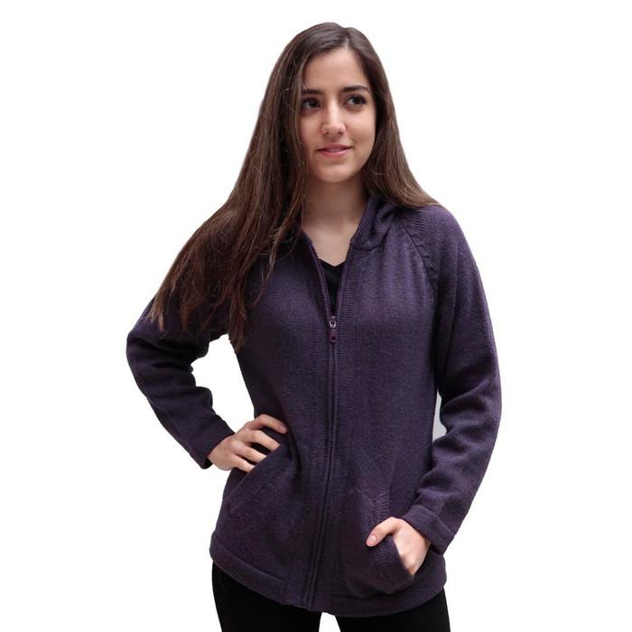 Hooded Alpaca Wool Jacket SZ M Purple