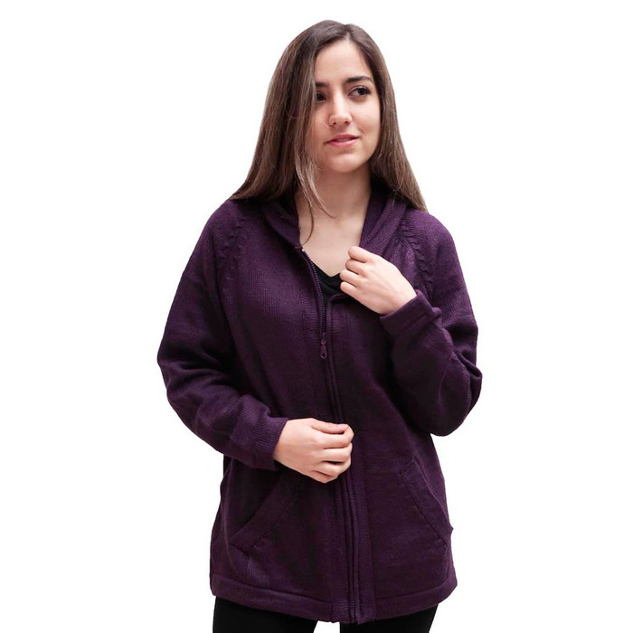Hooded Alpaca Wool Jacket SZ S Plum