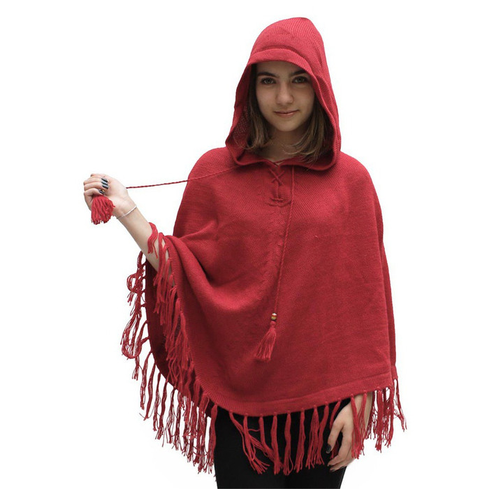 Womens Hooded Superfine Alpaca Wool Poncho Red One Size