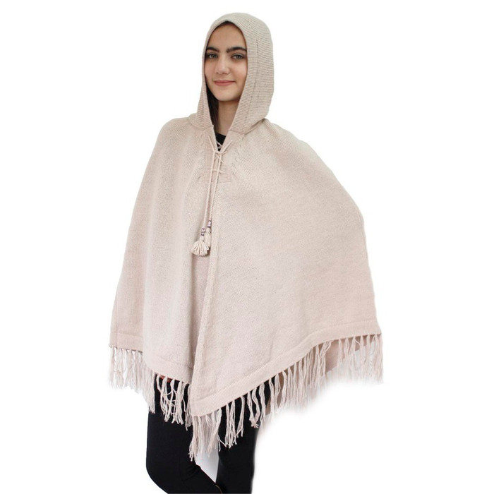 Hooded Alpaca Wool Womens Knit Long Poncho One Size Beige